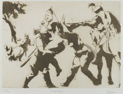 Jack Levine (American, 1915-2010). <em>Rape of Sabines</em>, 1965. Liftground and etching, Image: 8 x 10 3/4 in. (20.3 x 27.3 cm). Brooklyn Museum, Gift of Peter R. Blum, 1996.223.15. © artist or artist's estate (Photo: Brooklyn Museum, 1996.223.15_PS4.jpg)