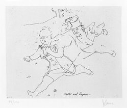 Jack Levine (American, 1915-2010). <em>Apollo and Daphne</em>, 1963. Etching, Image: 7 3/4 x 9 3/4 in. (19.7 x 24.8 cm). Brooklyn Museum, Gift of Peter R. Blum, 1996.223.16. © artist or artist's estate (Photo: Brooklyn Museum, 1996.223.16_bw.jpg)