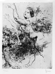 Jack Levine (American, 1915-2010). <em>Nymph and Warlock</em>, 1966. Etching and drypoint, Image: 9 5/8 x 7 1/2 in. (24.4 x 19.1 cm). Brooklyn Museum, Gift of Peter R. Blum, 1996.223.17. © artist or artist's estate (Photo: Brooklyn Museum, 1996.223.17_bw.jpg)