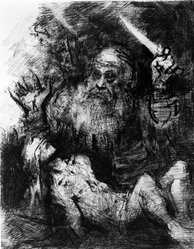 Jack Levine (American, 1915-2010). <em>Sacrifice of Isaac</em>, 1974. Drypoint, etching and engraving, Image: 13 3/4 x 10 1/2 in. (34.9 x 26.7 cm). Brooklyn Museum, Gift of Peter R. Blum, 1996.223.19. © artist or artist's estate (Photo: Brooklyn Museum, 1996.223.19_bw.jpg)