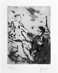 Jack Levine (American, 1915-2010). <em>American in Paris</em>, 1965. Etching and liftground, Image: 3 7/8 x 3 in. (9.9 x 7.6 cm). Brooklyn Museum, Gift of Peter R. Blum, 1996.223.24. © artist or artist's estate (Photo: Brooklyn Museum, 1996.223.24_bw.jpg)