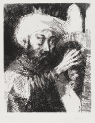 Jack Levine (American, 1915-2010). <em>King David</em>, 1963. Etching and drypoint, Image: 9 3/4 x 8 in. (24.8 x 20.3 cm). Brooklyn Museum, Gift of Peter R. Blum, 1996.223.7. © artist or artist's estate (Photo: Brooklyn Museum, 1996.223.7_PS4.jpg)