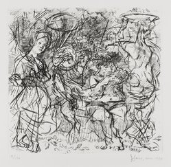 Jack Levine (American, 1915-2010). <em>Woodstock Pastoral</em>, 1950-1969. Etching, Image: 8 1/4 x 8 3/4 in. (21 x 22.2 cm). Brooklyn Museum, Gift of Peter R. Blum, 1996.223.9. © artist or artist's estate (Photo: Brooklyn Museum, 1996.223.9_PS4.jpg)