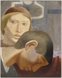 James Brooks (American, 1906-1992). <em>[Untitled] (Study of Two Heads)</em>, ca. 1938. Gouache on masonite board, 30 x 23 13/16in. (76.2 x 60.5cm). Brooklyn Museum, Gift of Charlotte Park Brooks in memory of her husband, James David Brooks, 1996.42.2. © artist or artist's estate (Photo: Brooklyn Museum, 1996.42.2_SL1.jpg)