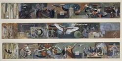 James Brooks (American, 1906-1992). <em>Three Studies for Flight Mural at Marine Air Terminal, LaGuardia Airport</em>, 1938. Gouache on paper mounted on board, each panel: 3 x 21 3/4in. (7.6 x 55.2cm). Brooklyn Museum, Gift of Charlotte Park Brooks in memory of her husband, James David Brooks, 1996.42.3. © artist or artist's estate (Photo: Brooklyn Museum, 1996.42.3_SL1.jpg)