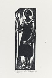 Elizabeth Catlett (American, 1915-2012). <em>In Other Folks Homes</em>, 1946. Linocut on Arches cream wove paper, Image: 6 5/16 x 2 1/16 in. (16.1 x 5.2 cm). Brooklyn Museum, Emily Winthrop Miles Fund, 1996.47.1. © artist or artist's estate (Photo: Brooklyn Museum, 1996.47.1_PS4.jpg)