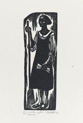 Elizabeth Catlett (American, 1915-2012). <em>In Other Folks Homes</em>, 1946. Linocut on Arches cream wove paper, Image: 6 5/16 x 2 1/16 in. (16.1 x 5.2 cm). Brooklyn Museum, Emily Winthrop Miles Fund, 1996.47.1. © artist or artist's estate (Photo: Brooklyn Museum, 1996.47.1_PS4.jpg)