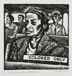 Elizabeth Catlett (American, 1915-2012). <em>I Have Special Reservations</em>, 1946. Linocut on cream wove paper, Sheet: 15 1/8 x 11 3/8 in. (38.4 x 28.9 cm). Brooklyn Museum, Emily Winthrop Miles Fund, 1996.47.2. © artist or artist's estate (Photo: Brooklyn Museum, 1996.47.2_PS2.jpg)