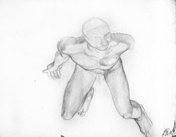 James Brooks (American, 1906-1992). <em>[Untitled] (Nude Male from Above)</em>, n.d. Graphite on paper, sheet: 17 13/16 x 22 7/8 in. (45.2 x 58.1 cm). Brooklyn Museum, Gift of Charlotte Park Brooks in memory of her husband, James David Brooks, 1996.54.1. © artist or artist's estate (Photo: Brooklyn Museum, 1996.54.1_bw.jpg)