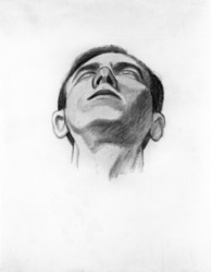 James Brooks (American, 1906-1992). <em>[Untitled] (Head of a Man as Seen from Below)</em>, n.d. Charcoal and watercolor on paper, Sheet: 18 3/4 x 14 3/4 in. (47.6 x 37.5 cm). Brooklyn Museum, Gift of Charlotte Park Brooks in memory of her husband, James David Brooks, 1996.54.39. © artist or artist's estate (Photo: Brooklyn Museum, 1996.54.39_bw.jpg)
