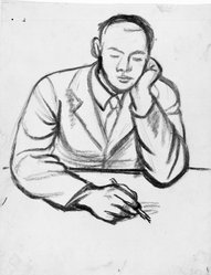 James Brooks (American, 1906-1992). <em>[Untitled] (Man Seated Writing)</em>, n.d. Charcoal on paper, Sheet: 17 15/16 x 14 3/16 in. (45.6 x 36 cm). Brooklyn Museum, Gift of Charlotte Park Brooks in memory of her husband, James David Brooks, 1996.54.45. © artist or artist's estate (Photo: Brooklyn Museum, 1996.54.45_bw.jpg)