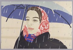 Alex Katz (American, born 1927). <em>Blue Umbrella</em>, 1979. Lithograph in 11 colors, 20 3/16 x 30 1/16 in. (51.3 x 76.4 cm). Brooklyn Museum, Gift of the artist, 1996.97.27. © artist or artist's estate (Photo: Brooklyn Museum, 1996.97.27_PS9.jpg)