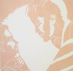 Alex Katz (American, born 1927). <em>A Tremor in the Morning: Jennifer, Eric</em>, 1986. Woodcut in color, Sheet: 20 1/4 x 19 3/4 in. (51.4 x 50.2 cm). Brooklyn Museum, Gift of the artist, 1996.97.35. © artist or artist's estate (Photo: Brooklyn Museum, 1996.97.35.jpg)