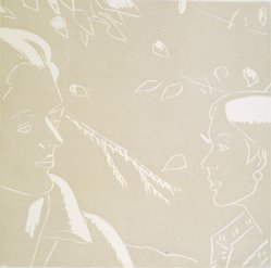 Alex Katz (American, born 1927). <em>A Tremor in the Morning: Rackstraw, Peggy</em>, 1986. Woodcut in color, Sheet: 20 1/4 x 19 3/4 in. (51.4 x 50.2 cm). Brooklyn Museum, Gift of the artist, 1996.97.39. © artist or artist's estate (Photo: Brooklyn Museum, 1996.97.39.jpg)