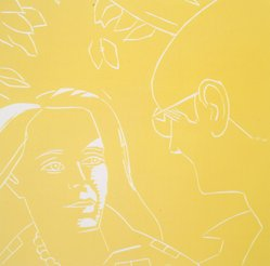 Alex Katz (American, born 1927). <em>A Tremor in the Morning: Ada, Dino</em>, 1986. Woodcut in color, Sheet: 20 1/4 x 19 3/4 in. (51.4 x 50.2 cm). Brooklyn Museum, Gift of the artist, 1996.97.42. © artist or artist's estate (Photo: Brooklyn Museum, 1996.97.42.jpg)