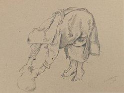 Charles K. Wilkinson. <em>A Bent Over Woman</em>, 1924. Pencil on paper, image: 10 1/4 x 13 5/8 in. (26.0 x 34.6 cm). Brooklyn Museum, Gift of the executors of the Estate of Irma B. Wilkinson, 1997.109.2. © artist or artist's estate (Photo: Brooklyn Museum, 1997.109.2_IMLS_PS3.jpg)