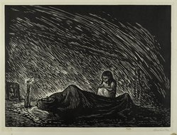 Leopoldo Méndez (Mexican, 1902-1969). <em>Solitude (Soledad)</em>, 1948. Linocut on paper, sheet: 15 15/16 x 20 in. (40.4 x 50.8 cm). Brooklyn Museum, Emily Winthrop Miles Fund, 1997.125.4. © artist or artist's estate (Photo: Brooklyn Museum, 1997.125.4_PS4.jpg)