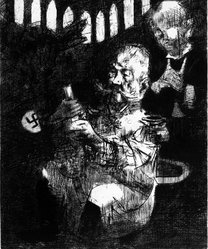 Jack Levine (American, 1915-2010). <em>The End of the Weimar Republic</em>, 1967. Etching and mezzotint, Image: 17 3/4 x 14 3/4 in. (45.1 x 37.5 cm). Brooklyn Museum, Gift of Peter R. Blum, 1997.13. © artist or artist's estate (Photo: Brooklyn Museum, 1997.13_bw.jpg)