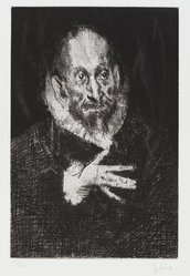 Jack Levine (American, 1915-2010). <em>El Greco</em>, 1966. Etching, drypoint, and mezzotint on Italia paper, Plate: 11 3/4 x 7 7/8 in. (29.8 x 20 cm). Brooklyn Museum, Gift of Peter Blum, 1997.194.9. © artist or artist's estate (Photo: Brooklyn Museum, 1997.149.9_PS4.jpg)