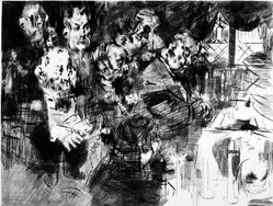 Jack Levine (American, 1915-2010). <em>The Gangster's Funeral</em>, 1965. Drypoint and engraving on Arches paper, Plate: 19 1/4 x 25 3/8 in. (48.9 x 64.5 cm). Brooklyn Museum, Gift of Peter Blum, 1997.194.12. © artist or artist's estate (Photo: Brooklyn Museum, 1997.194.12_bw.jpg)