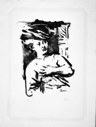 Jack Levine (American, 1915-2010). <em>Helene Fourment</em>, 1965. Lithograph on Arches paper, Plate: 15 3/4 x 11 1/2 in. (40 x 29.2 cm). Brooklyn Museum, Gift of Peter Blum, 1997.194.14. © artist or artist's estate (Photo: Brooklyn Museum, 1997.194.14_bw.jpg)