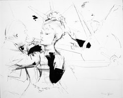 Jack Levine (American, 1915-2010). <em>Vernissage</em>, 1967. Lithograph on Arches paper, Plate: 16 3/4 x 22 in. (42.5 x 55.9 cm). Brooklyn Museum, Gift of Peter Blum, 1997.194.15. © artist or artist's estate (Photo: Brooklyn Museum, 1997.194.15_bw.jpg)