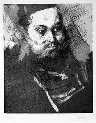 Jack Levine (American, 1915-2010). <em>The Bearded Man</em>, 1962. Etching, drypoint, and aquatint on Arches paper, Plate: 9 3/4 x 7 7/8 in. (24.8 x 20 cm). Brooklyn Museum, Gift of Peter Blum, 1997.194.1. © artist or artist's estate (Photo: Brooklyn Museum, 1997.194.1_bw.jpg)