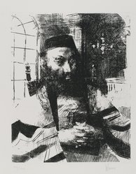 Jack Levine (American, 1915-2010). <em>Ashkenazi</em>, 1963. Etching on BFK Rives paper, Plate: 9 3/4 x 7 3/4 in. (24.8 x 19.7 cm). Brooklyn Museum, Gift of Peter Blum, 1997.194.4. © artist or artist's estate (Photo: Brooklyn Museum, 1997.194.4_PS4.jpg)