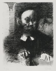 "Jack Levine (American, 1915-2010). <em>Rabbi in His Study (also called ""Ashkenazi II"")</em>, 1964. Etching and drypoint on BFK Rives paper, plate: 9 5/8 × 7 7/8 in. (24.4 × 20 cm). Brooklyn Museum, Gift of Peter Blum, 1997.194.5. © artist or artist's estate (Photo: Brooklyn Museum, 1997.194.5_PS4.jpg)"