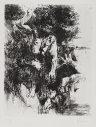 Jack Levine (American, 1915-2010). <em>Cain and Abel</em>, 1964. Etching and drypoint on BFK Rives paper, Plate: 9 3/4 x 7 3/4 in. (24.8 x 19.7 cm). Brooklyn Museum, Gift of Peter Blum, 1997.194.6. © artist or artist's estate (Photo: Brooklyn Museum, 1997.194.6_PS4.jpg)