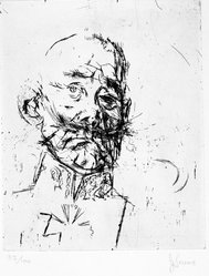 Jack Levine (American, 1915-2010). <em>Prussian General</em>, 1966. Etching and aquatint on BFK Rives paper, Plate: 9 3/4 x 7 5/8 in. (24.8 x 19.4 cm). Brooklyn Museum, Gift of Peter Blum, 1997.194.7. © artist or artist's estate (Photo: Brooklyn Museum, 1997.194.7_bw.jpg)