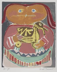 Will Barnet (American, 1911-2012). <em>Go-Go</em>, 1947. Screenprint on cream laid paper, Sheet: 16 7/8 x 13 in. (42.9 x 33 cm). Brooklyn Museum, Purchase gift of Robert A. Levinson, 1997.36. © artist or artist's estate (Photo: Brooklyn Museum, 1997.36_PS4.jpg)