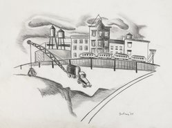 Dorothy Dehner (American, 1908-1994). <em>[Untitled] (Brooklyn Waterfront)</em>, 1935. Charcoal and graphite on heavy wove paper, Sheet: 10 7/8 x 13 15/16 in. (27.6 x 35.4 cm). Brooklyn Museum, Gift of the Dorothy Dehner Foundation, 1997.84. © artist or artist's estate (Photo: Brooklyn Museum, 1997.84_PS9.jpg)