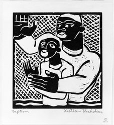 Katherine Blackshear (American, 1897-1988). <em>Baptism</em>, 1936. Woodcut on medium cream wove paper, Image: 5 3/4 x 5 7/16 in. (14.9 x 13.8 cm). Brooklyn Museum, Emily Winthrop Miles Fund, 1997.9. © artist or artist's estate (Photo: Brooklyn Museum, 1997.9_bw.jpg)