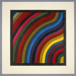 Sol LeWitt (American, 1928-2007). <em>Two Centimeter Wavy Bands in Colors</em>, 1996. Oil-base woodcut on Zangetsu Japanese hand-made paper, Image: 17 1/2 x 17 1/2 in. (44.5 x 44.5 cm). Brooklyn Museum, Gift of the Prints and Photographs Council, 1998.106.2. © artist or artist's estate (Photo: Brooklyn Museum, 1998.106.2_SL1.jpg)