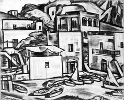 Vaclav Vytlacil (American, 1893-1984). <em>Untitled</em>, 1925. Charcoal on paper, Sheet: 18 1/16 x 22 7/8 in. (45.9 x 58.1 cm). Brooklyn Museum, Gift of the executors of the Estate of Vaclav Vytlacil, 1998.111.5. © artist or artist's estate (Photo: Brooklyn Museum, 1998.111.5_bw.jpg)