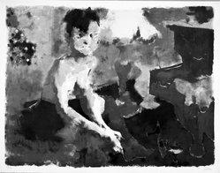Jack Levine (American, 1915-2010). <em>Blue Angel</em>, 1967. Lithograph, Image: 19 3/4 x 25 1/2 in. (50.2 x 64.8 cm). Brooklyn Museum, Gift of Peter R. Blum, 1998.191.15. © artist or artist's estate (Photo: Brooklyn Museum, 1998.191.15_bw.jpg)