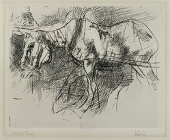 Jack Levine (American, 1915-2010). <em>The White Horse</em>, 1962. Etching, Image: 7 13/16 x 9 11/16 in. (19.8 x 24.6 cm). Brooklyn Museum, Gift of Peter R. Blum, 1998.191.8. © artist or artist's estate (Photo: Brooklyn Museum, 1998.191.8_PS4.jpg)