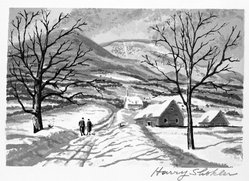 Harry Shokler (American, 1896-1978). <em>Winter Walk</em>, 1935. Screenprint on cream wove paper, Image: 4 x 5 15/16 in. (10.2 x 15.1 cm). Brooklyn Museum, Gift of Reba and Dave Williams, 1998.28.3. © artist or artist's estate (Photo: Brooklyn Museum, 1998.28.3_bw.jpg)