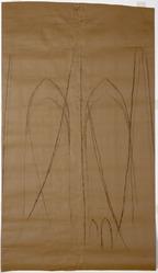 Georgia O'Keeffe (American, 1887-1986). <em>Preparatory Study for Brooklyn Bridge</em>, 1949. Charcoal on paper, 62 7/8 × 36 in. (159.7 × 91.4 cm). Brooklyn Museum, Gift of Doris Bry, 1998.60. © artist or artist's estate (Photo: Brooklyn Museum, 1998.60_SL1.jpg)
