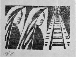 David Alfaro Siqueiros (Mexican, 1896-1974). <em>[Untitled]</em>, 1931. Woodcut on paper, sheet: 9 3/8 x 6 7/8 in. (23.8 x 17.5 cm). Brooklyn Museum, Emily Winthrop Miles Fund, 1999.116.13. © artist or artist's estate (Photo: Brooklyn Museum, 1999.116.13_bw.jpg)