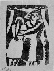 David Alfaro Siqueiros (Mexican, 1896-1974). <em>[Untitled]</em>, 1931. Woodcut on paper, sheet: 9 5/16 x 6 7/8 in. (23.7 x 17.5 cm). Brooklyn Museum, Emily Winthrop Miles Fund, 1999.116.4. © artist or artist's estate (Photo: Brooklyn Museum, 1999.116.4_bw.jpg)