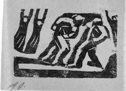 David Alfaro Siqueiros (Mexican, 1896-1974). <em>[Untitled]</em>, 1931. Woodcut on paper, sheet: 9 3/8 x 6 7/8 in. (23.8 x 17.5 cm). Brooklyn Museum, Emily Winthrop Miles Fund, 1999.116.5. © artist or artist's estate (Photo: Brooklyn Museum, 1999.116.5_bw.jpg)