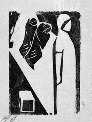 David Alfaro Siqueiros (Mexican, 1896-1974). <em>[Untitled]</em>, 1931. Woodcut on paper, sheet: 9 3/8 x 6 7/8 in. (23.8 x 17.5 cm). Brooklyn Museum, Emily Winthrop Miles Fund, 1999.116.7. © artist or artist's estate (Photo: Brooklyn Museum, 1999.116.7_bw.jpg)