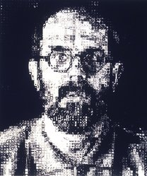 Chuck Close (American, born 1940). <em>Self Portrait</em>, 1995. Screenprint, Sheet: 64 1/2 x 54 in.  (163.8 x 137.2 cm). Brooklyn Museum, Alfred T. White Fund, 1999.4. © artist or artist's estate (Photo: Brooklyn Museum, 1999.4_transpc002.jpg)