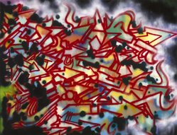 Unknown. <em>Untitled</em>. Spray paint on canvas, 84 1/2 x 109 7/8 in. (214.6 x 279.1 cm). Brooklyn Museum, Gift of Carroll Janis and Conrad Janis, 1999.57.12. © artist or artist's estate (Photo: Brooklyn Museum, 1999.57.12_reference_SL1.jpg)