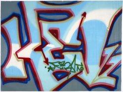 Randy Rodriguez aka Kel 1st (American, born 1963). <em>Son of Kel</em>, 1984. Spray paint on canvas, 53 x 70 in.  (134.6 x 177.8 cm). Brooklyn Museum, Gift of Carroll Janis and Conrad Janis, 1999.57.19. © artist or artist's estate (Photo: Brooklyn Museum, 1999.57.19_reference_SL1.jpg)