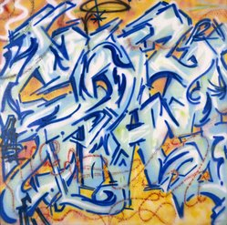 Michael Tracy aka Tracy 168 (American, born 1958). <em>Crazy Tracy</em>, 1984. Spray paint on canvas, 69 1/4 x 69 1/2 in. (175.9 x 176.5 cm). Brooklyn Museum, Gift of Carroll Janis and Conrad Janis, 1999.57.22. © artist or artist's estate (Photo: Brooklyn Museum, 1999.57.22_SL1.jpg)