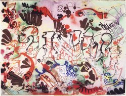 Anthony Clark aka A-One (American, 1964-2001). <em>Unity (Villain of the Night)</em>. Spray paint on canvas, 85 x 110 1/2 in.  (215.9 x 280.7 cm). Brooklyn Museum, Gift of Carroll Janis and Conrad Janis, 1999.57.3. © artist or artist's estate (Photo: Brooklyn Museum, 1999.57.3_transp758.jpg)
