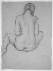 Aristide Maillol (French, 1861-1944). <em>Seated Dina with Braids from Rear</em>, 1937. Sanguine, sight: 12 5/16 x 9 1/16 in.  (31.3 x 23.0 cm). Brooklyn Museum, Gift of Annie Larralde in memory of Carlotta Simons, 1999.63. © artist or artist's estate (Photo: Brooklyn Museum, 1999.63.jpg)
